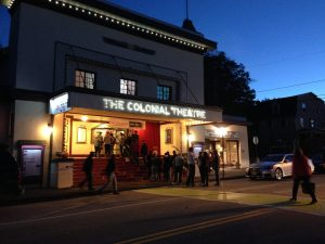 A busy night on Main Street Bethlehem, NH in fron of The Colonial Theatre.